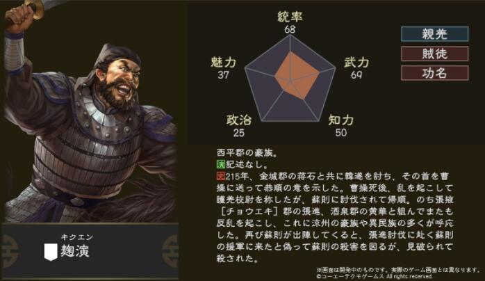 反复无常的叛贼 《三国志14》新武将【麹演】介绍